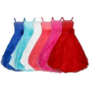 Image 3 - IEFiEL ילדים בנות רקום פרח קשת צד פורמלי כדור שמלת נשף נסיכת שושבינה חתונה ילדי טוטו שמלת גודל 2 14Y