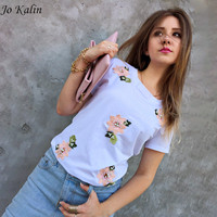 Jo Kalin 2017 New Brand Summer Tops Fashion Clothes For Women Bead Flower T Shirt Red