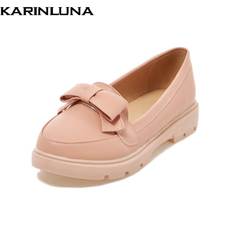 Karinluna New women's Solid Flat Round Toe slip-on Bowtie Shoes Woman Casual Spring Flats White Big Size 34-43 sweet women high quality bowtie pointed toe flock flat shoes women casual summer ladies slip on casual zapatos mujer bt123