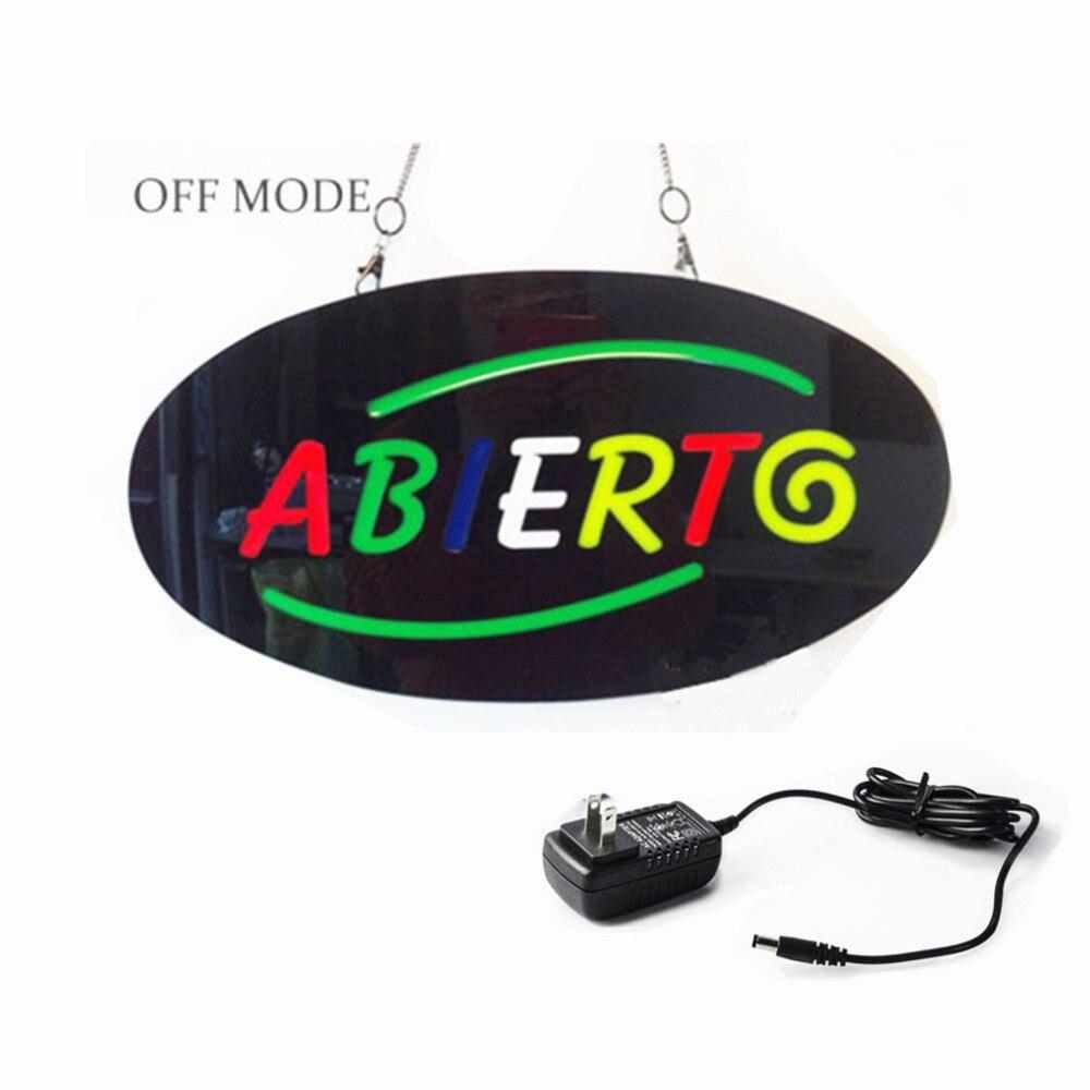 Яркий Abiertg ВЕЛА Открытую ЗНАК/Мигает ABIERTG эпоксидной <font><b>LED</b></font> Neon Знак + На/Выключения для Стен Магазина окна Испанский Дисплей