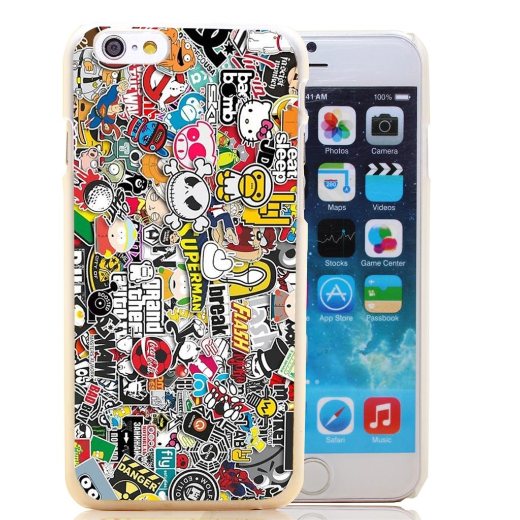 1575-HOQE STICKER BOMB Transparent Hard Case Cover for iPhone 6 6s plus 5 5s 5c 4 4s Phone Cases