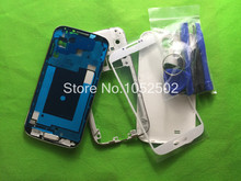 Replacement Parts Full Housing Case Middle Frame + Rubber Seal Back Cover+Glass Lens++Buttons+Tools For Samsung  Galaxy s4 i9505