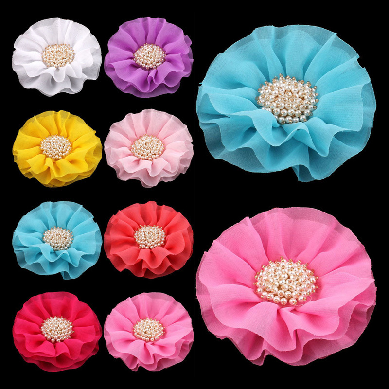 120pcs/lot 4 15colors Big Ruffled Chiffon Flower+Pearl Centre For Kids Hair Accessories Artificial Fabric Flowers For Headbands