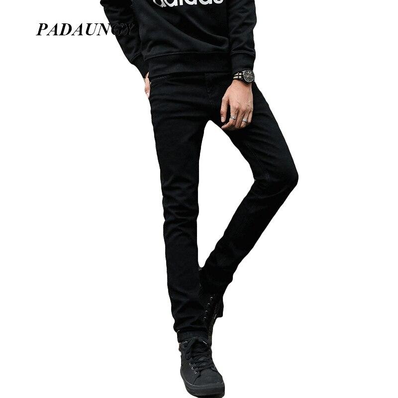 ФОТО PADAUNGY Pencil Jeans Homme Autumn Winter Denim Pants Mid Waist Outwear Work Date Pants Slim Fit Joggers Men's Jegging Plus Size
