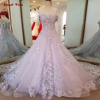 Long Grey Evening Dress Lace Up Back A Line Organza Lace Sequins Robe Soiree Longue Femme