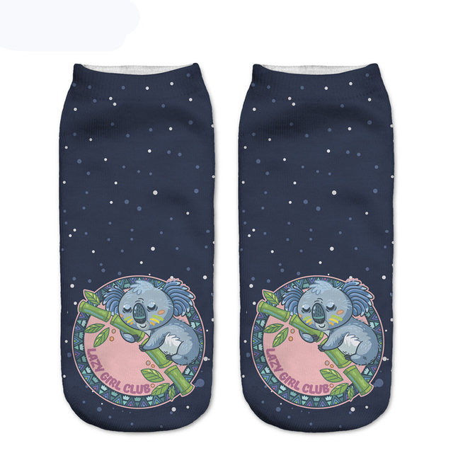 New Design Women Socks Meditate Monkeys 3D Printing Socks Low Cut Ankle Sock Cartoon Cotton Socks