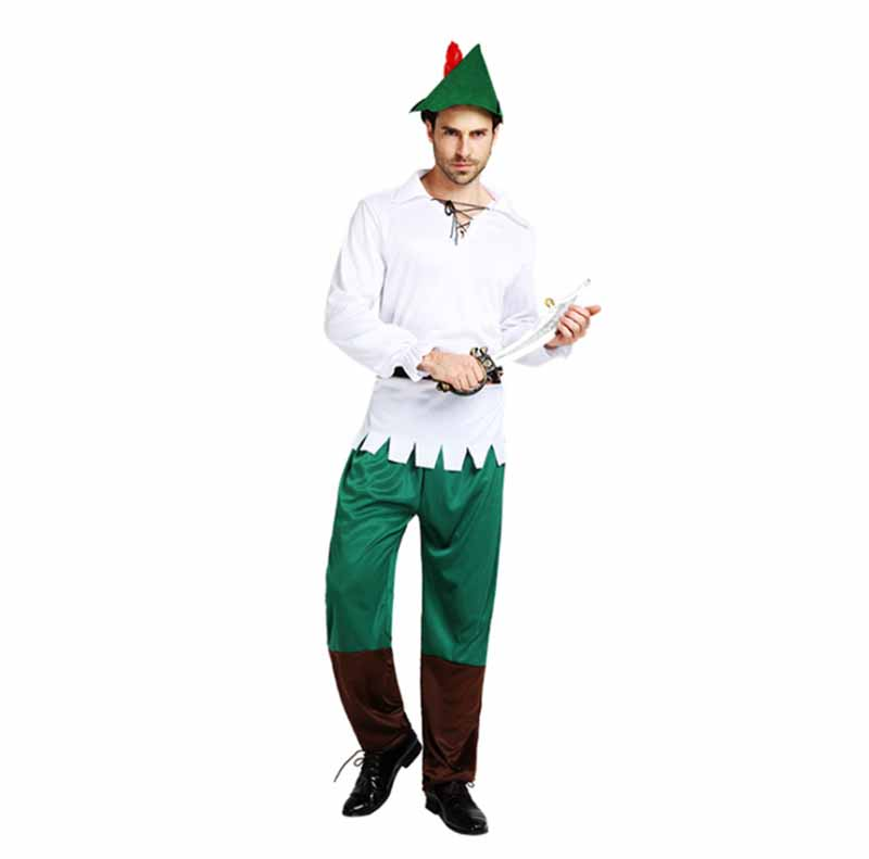 Mens Robin Hood Hunter Fancy Dress Costume Outfit Adult with Hat