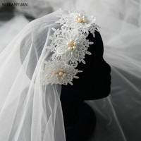 Velos De Novia Lace Edged Two Layers 1.5M Short Wedding Veils with Comb Soft Tulle Wedding Accessories Ivory Bridal Veil