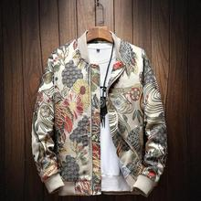 5XL Jackets men 2019 Autumn New Japanese Embroidery Men Jacket Coat Man Hip Hop Streetwear Jacket Coat Bomber Jacket Men Clothes