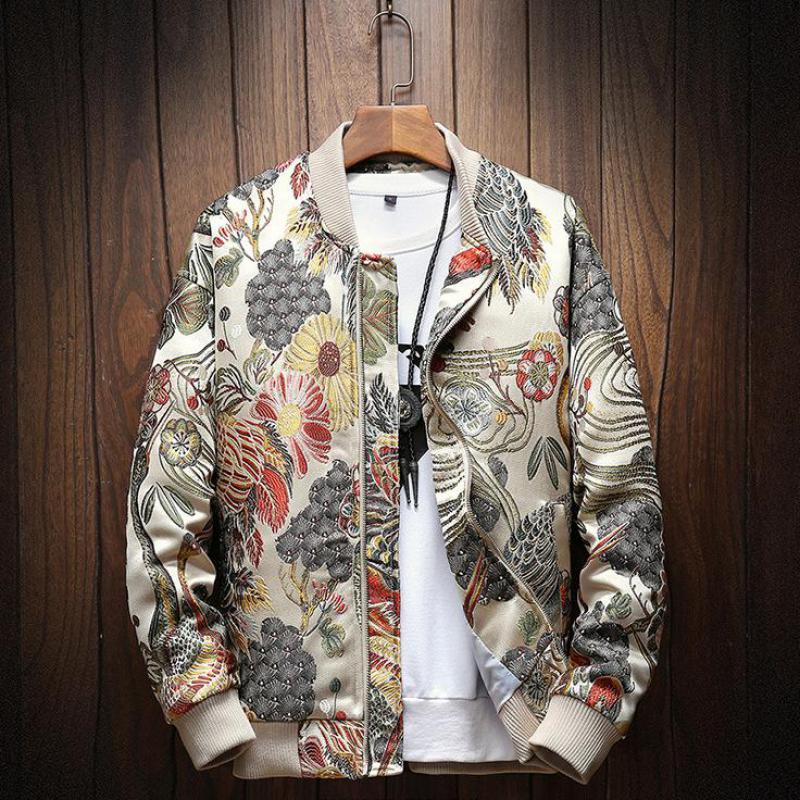 5XL vestes hommes 2019 automne nouveau japonais broderie hommes veste manteau homme Hip Hop Streetwear veste manteau Bomber veste hommes vêtements