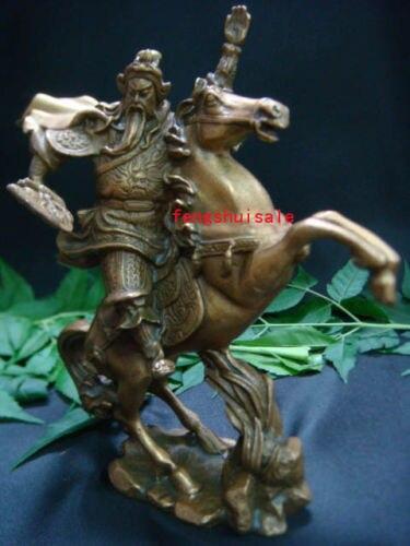 Feng Shui Brass Kuan Kong God of War Fighting on Horse Brass statues M4085