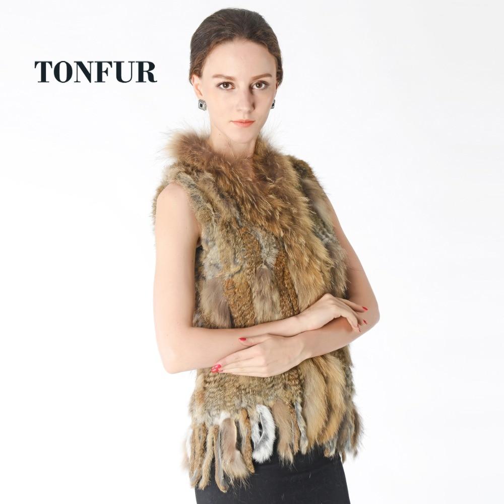 2019 New Knitted Rabbit Fur Vest With Raccoon Fur Collar Sleeveless Jacket Real Rabbit Fur Gilet