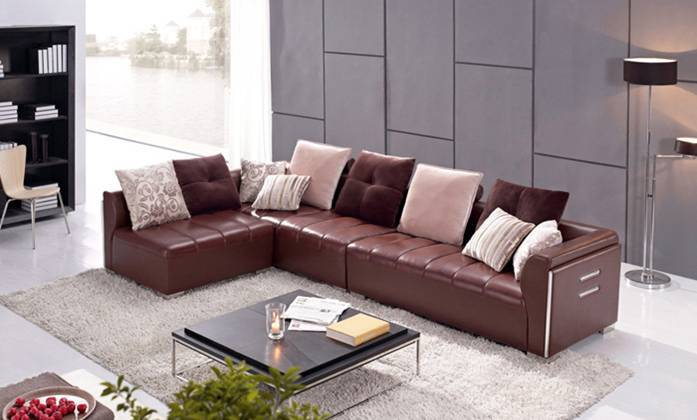 Euro Design Sofa, Made With Top Grain Leather L Shaped Corner Sectional Sofa  Antique Furniture L8031