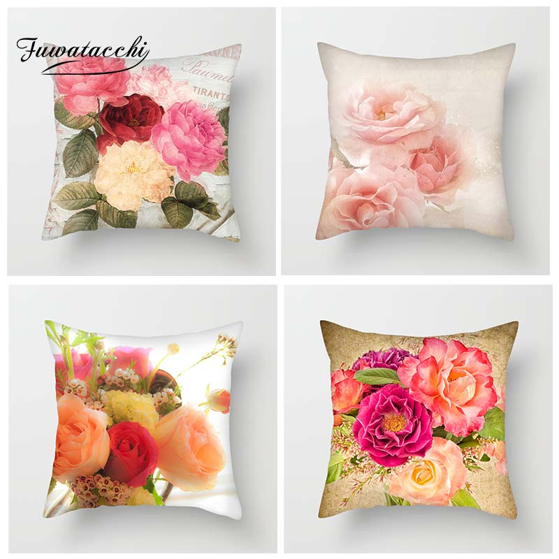 Fuwatacchi Various Floral Cushion Cover Paris Romantic Pillow Cover Pink Red Flower Decorative Pillowcase For Sofa Home Decor