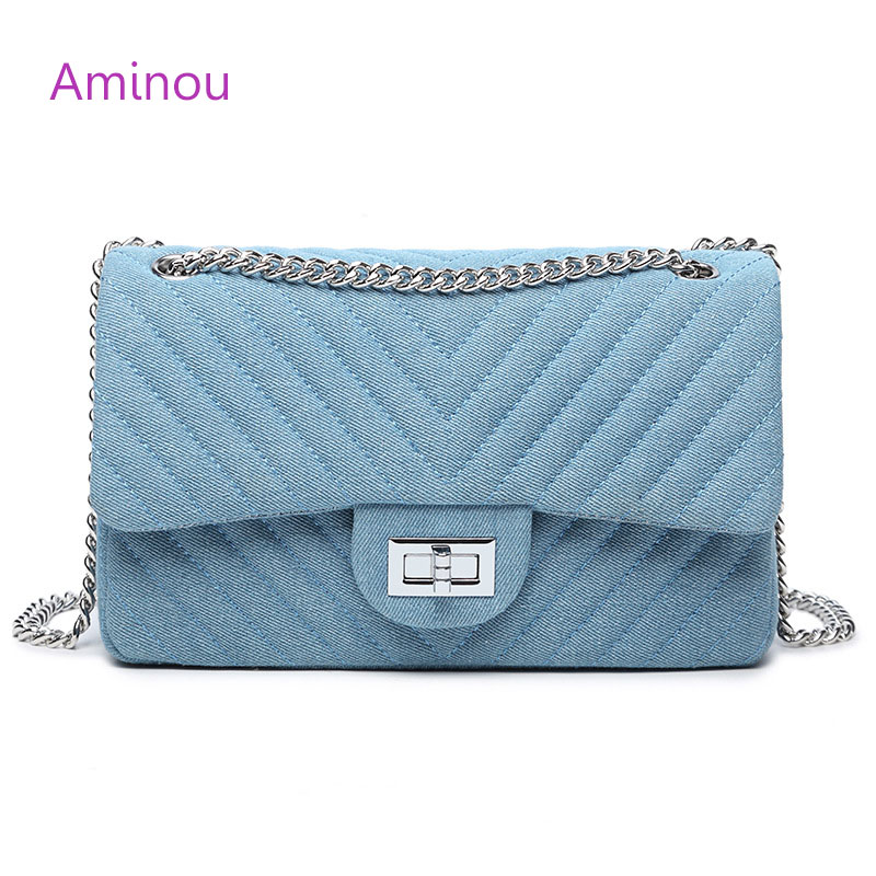 Aminou Women Designer Shoulder Bag Chains Flap Messenger Bags Ladies Diamond Lattice Denim Crossbody Bags For Girls Blue Handbag 2017 new women lady geometric diamonds chains denim designer handbags flap shoulder bag crossbody messenger bags evening party
