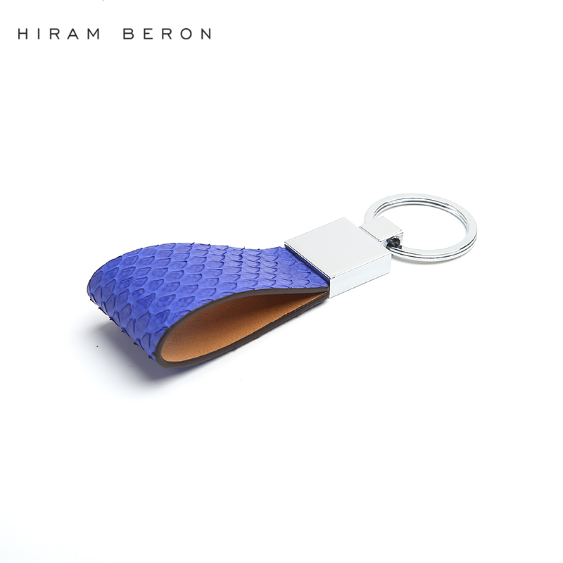 Hiram Beron Key Holder Wallet Chain Python Skin Phone Leather Chain Men Car Keychain Genuine Leather Key Holder Bag Accessories