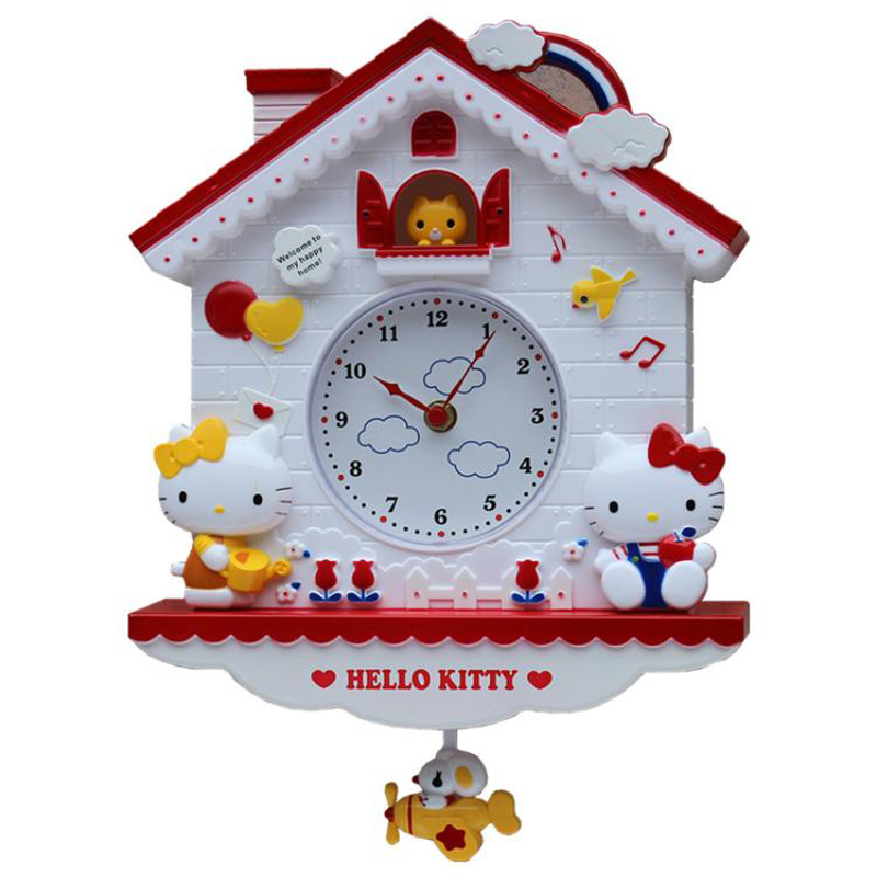 Cartoon Hello Kitty My Melody Twin Stars Home Wall Swing Clock Cute Living Room Clock Kid Bedroom Girls Quartz Clock(China)