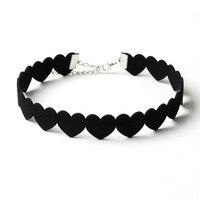 NK174 New Brand Torques Bijoux Plain Statement Black Love Heart Chokers Necklace for Women Girls Gift Jewelry Collier Femme