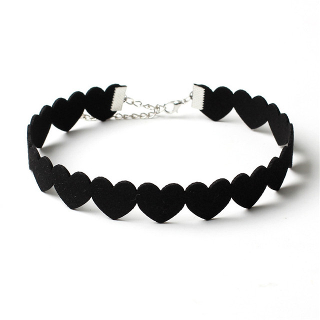 Célèbre NK174 New Brand Torques Bijoux Plain Statement Black Love Heart  TC73