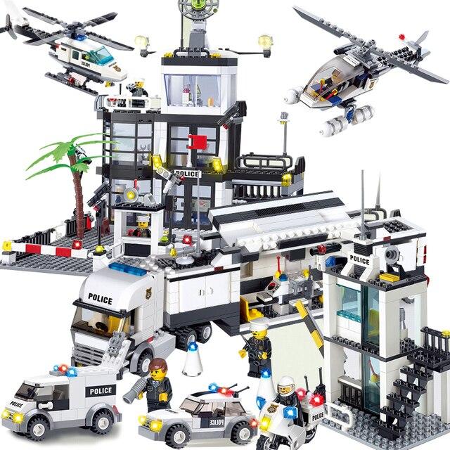 Conjuntos de Brinquedos as crianças Da Cidade Delegacia Rua Carros Caminhões compatível legoeings modelo kits de Construção Blocos polícia veículo barcos Tijolos