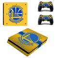 Nba warriors de golden state ps4 slim piel de la etiqueta engomada para sony ps4 playstation 4 slim de la consola y los controladores de 2 pegatinas