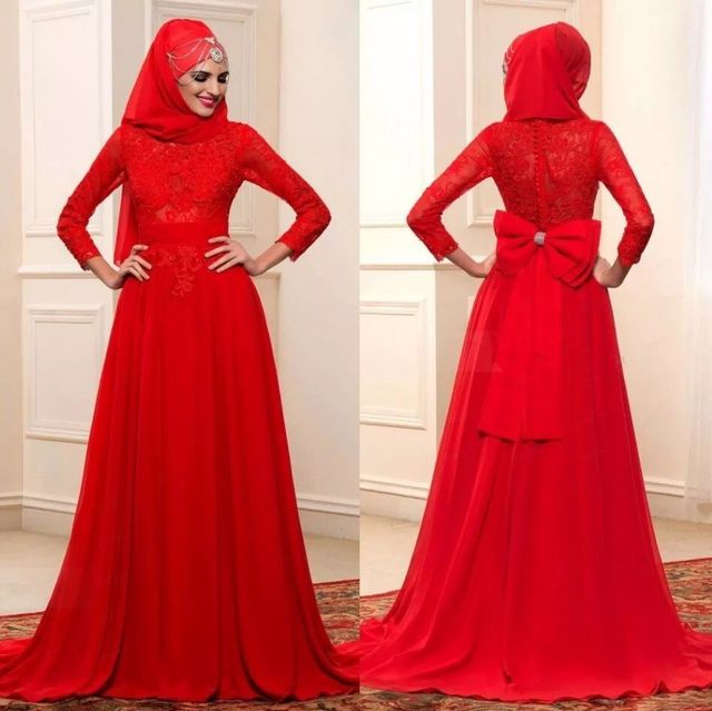 Red Muslim Evening Dresses Full Sleeves with Wrap Red Bridal Evening ...