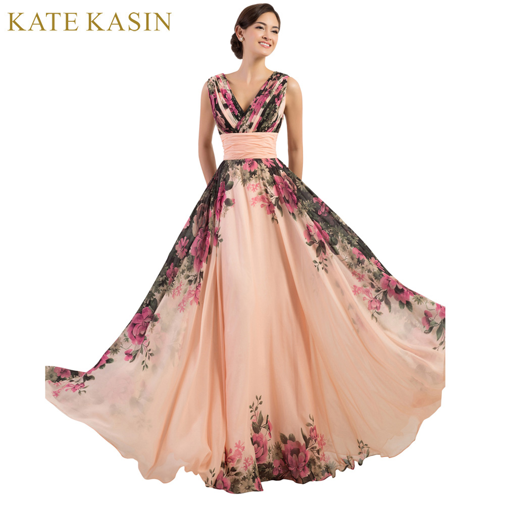 3 Designs Evening Dresses Stock One Shoulder Flower Pattern Floral Print Chiffon Evening Dress Gown Party Long Prom dresses 2018