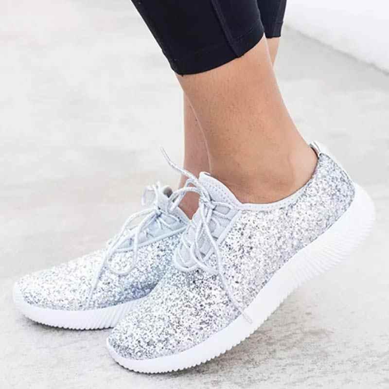 Calidad superior gama muy codiciada de modelado duradero Moda oro plata zapatos mujeres brillo zapatillas de verano Bling blanco  zapatillas de encaje zapatos brillantes para mujeres zapatos Casuales tenis
