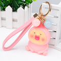Cute leather kobito dukan rex rabbit fur ball keychain  women bag charm