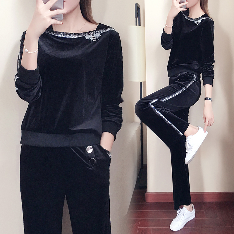 YICIYA Black Tracksuits For Women Velvet 2 Piece Set Outfit Co-ord Set Plus Size Large 5xl 2019 Spring Winter Female Clothing