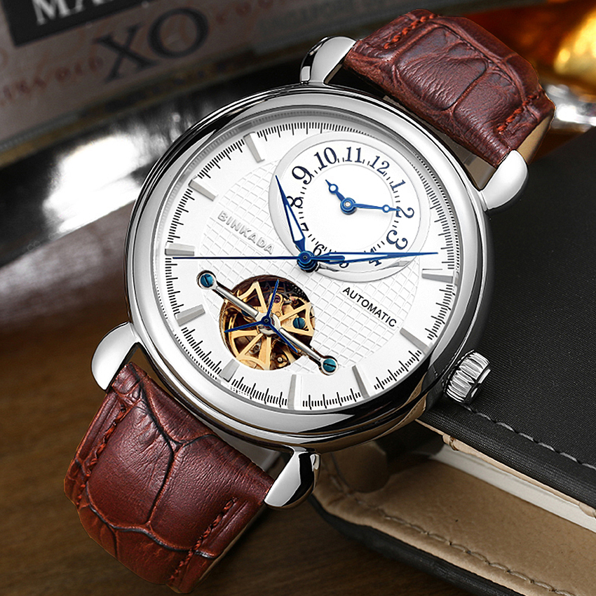 Dual Time Mens Luxury Gold Skeleton Automatic Self Winding Mechanical Watches Waterproof Automatic Luxury Watch Male original binger mans automatic mechanical wrist watch date display watch self wind steel with gold wheel watches new luxury