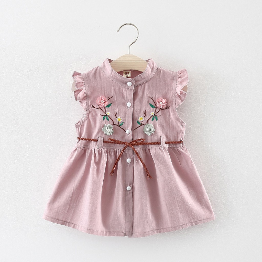 Toddler Baby Girls Flowers Lace-Up Party Dress Princess Dresses