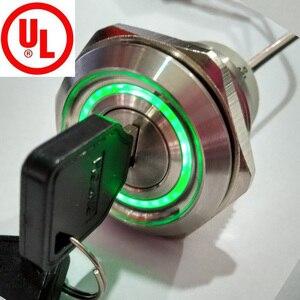 Interruptor de Metal con 2 posiciones de 30mm, interruptor de bloqueo de llave de iluminación de 24V, LAS1-AGQ30-11Y, acero inoxidable 21