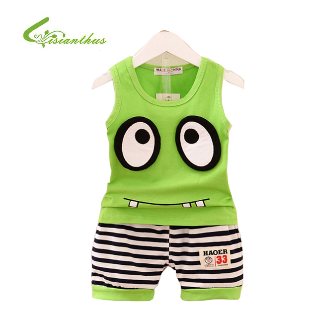 88c56352fe57 New Summer Baby Boys Girls Clothes Set Big Eyes Cartoon Cotton ...