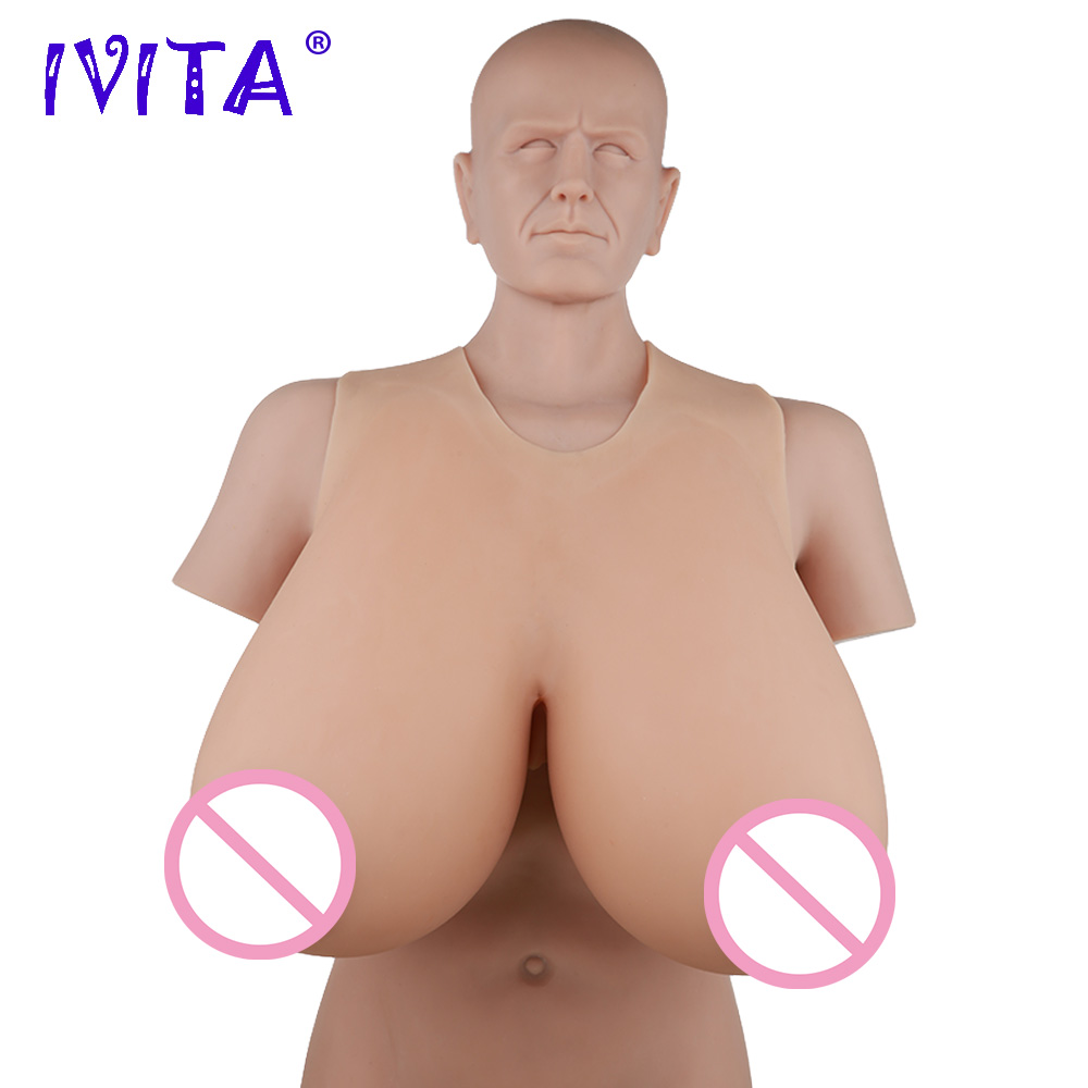 IVITA 16KG Realistic Silicone Breast Forms Crossdresser Prosthesis Artificial Fake Boobs For Transgender Drag Queen Transvestite