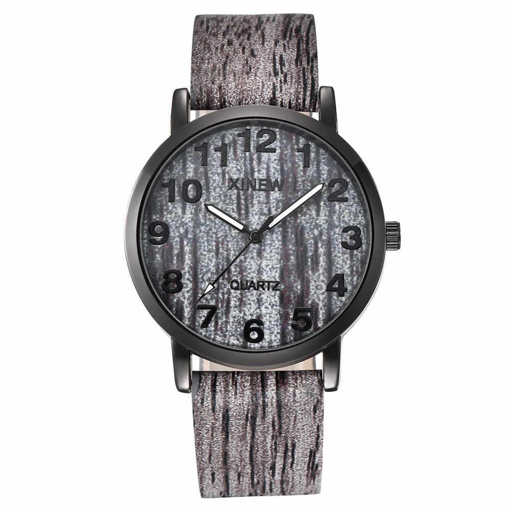 Reloj con textura de madera XINEW para hombre y mujer, reloj de cuarzo de cuero Retro de imitación, reloj para hombre, reloj para hombre, reloj femenino
