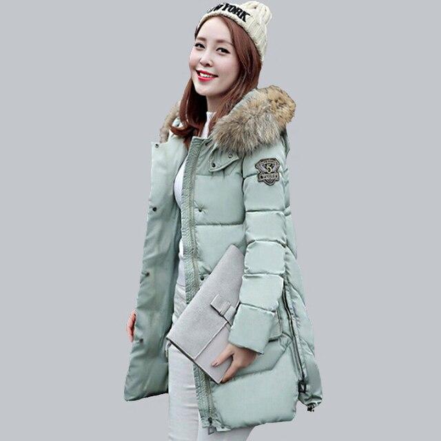 2016 Зимняя Куртка Женщин Хлопка Проложенный Пальто Меховой Воротник Утолщение Парки Для Женщин Зимнее Пальто Куртки