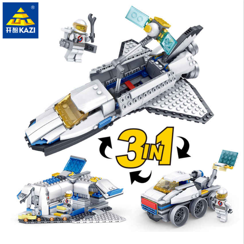 KAZI New 3 in 1 City Series Caravan Camping Car Space shuttle Legoingly Blocks Toys DIY Building Bricks Gifts for Children (7)
