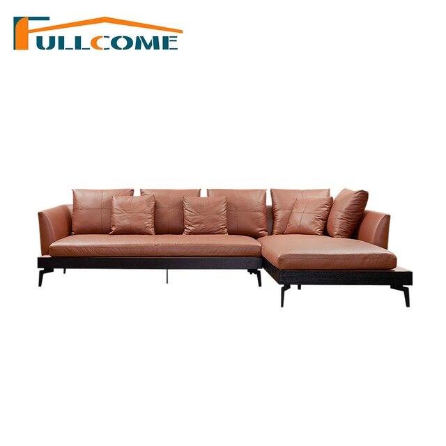 China Luxury Home Furniture Modern Leather Scandinavian Sofa Love Seat Chair Living Room Feather Italian Corner