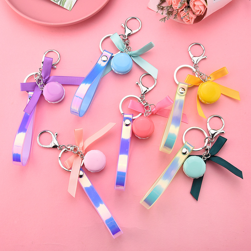 Soft Clay French Cake Keychain Ribbon Bow Car Keychain Leather Rope Pendant Wedding Key Ring Party Gift Jewelry Pg K2273
