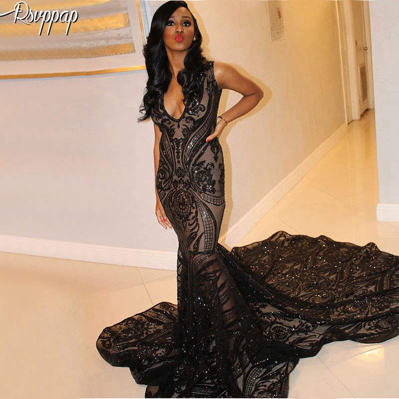 Long   Prom     Dresses   2019 Sparkly Sexy See Through Mermaid Elegant African Women Black Sequin   Prom     Dress   With Train