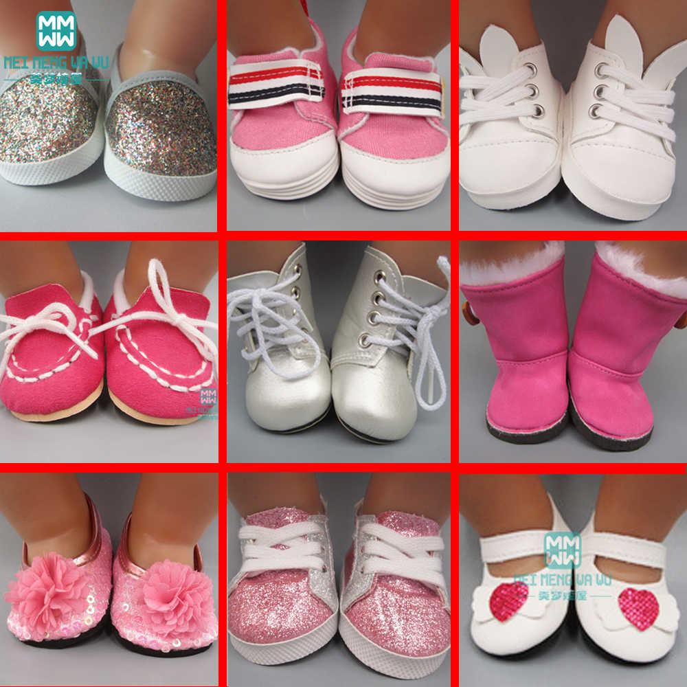 2019 NEW toy baby shoes for doll fit 43cm new born doll accessories and American doll fashion boots, leather shoes, sports shoes
