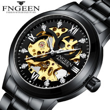 FNGEEN Mens Mechanical Self Wind Watches Watch Men Luxury Waterproof Exquisite Skeleton Movement Automatic Steel