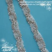 (10 yards) Wholesale iron on bridal beaded applique silver clear crystal rhinestone trim for wedding evening dress sash WDD0379