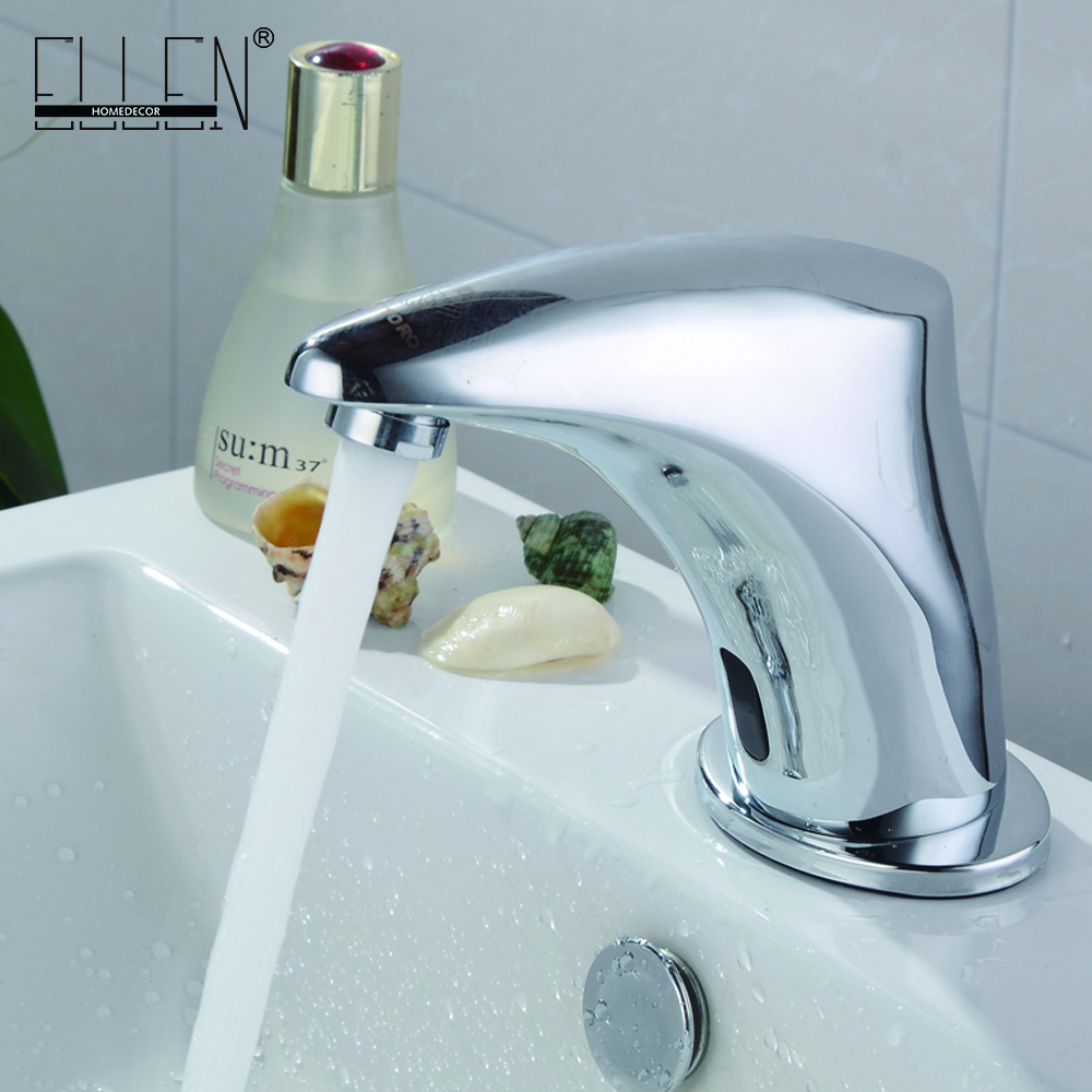 Automatic Inflated Sensor Bathroom Crane Mixer Basin Faucet Chrome Cold & Hot Hand Touch Tap Deck Mounted Crock Tap Mixer automatic sensor polish chrome waterfall bathroom basin faucet cold tap plate