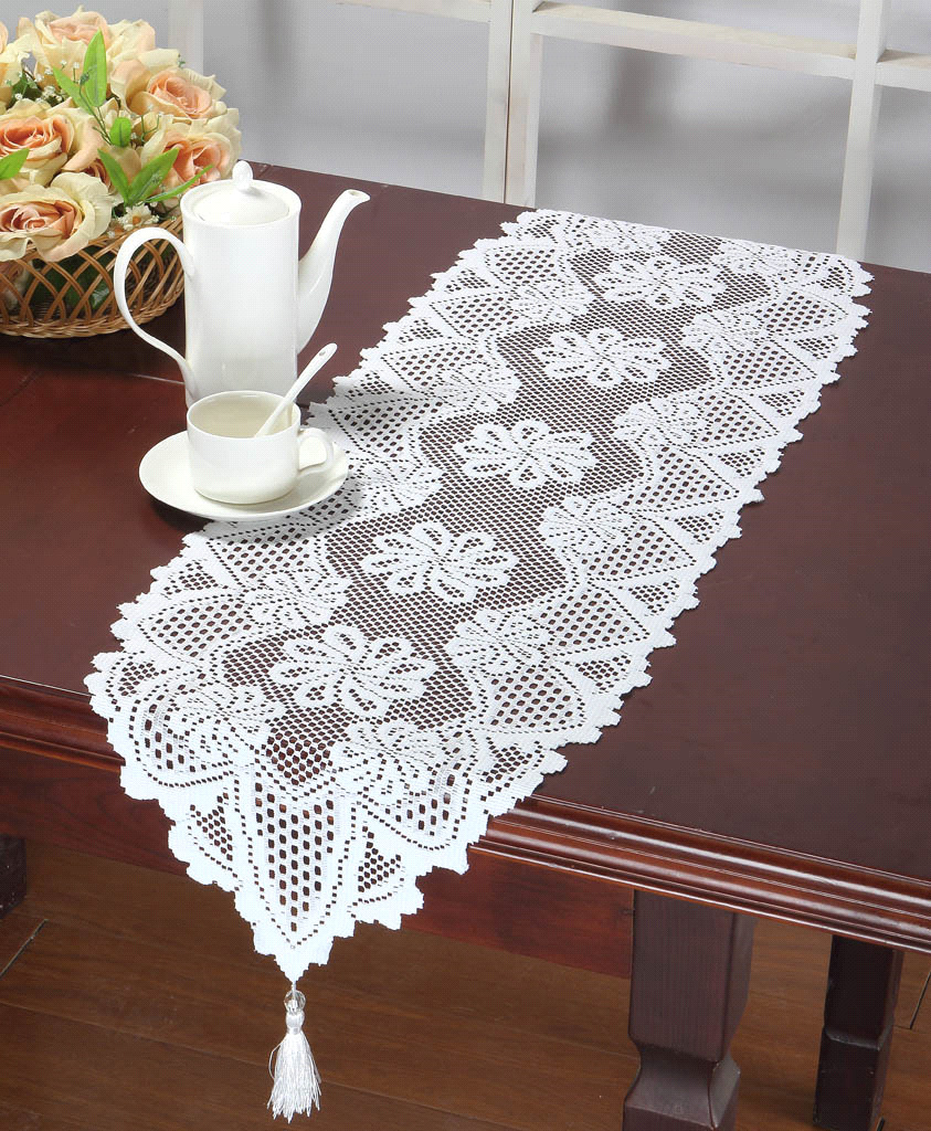 Snowflower Lace Table Runners 13X45 Inch Ivory Or White