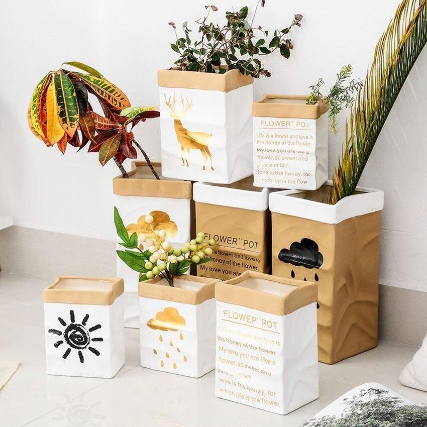 Creative Ceramic Flower Pots Floor Large Imitation Kraft Paper