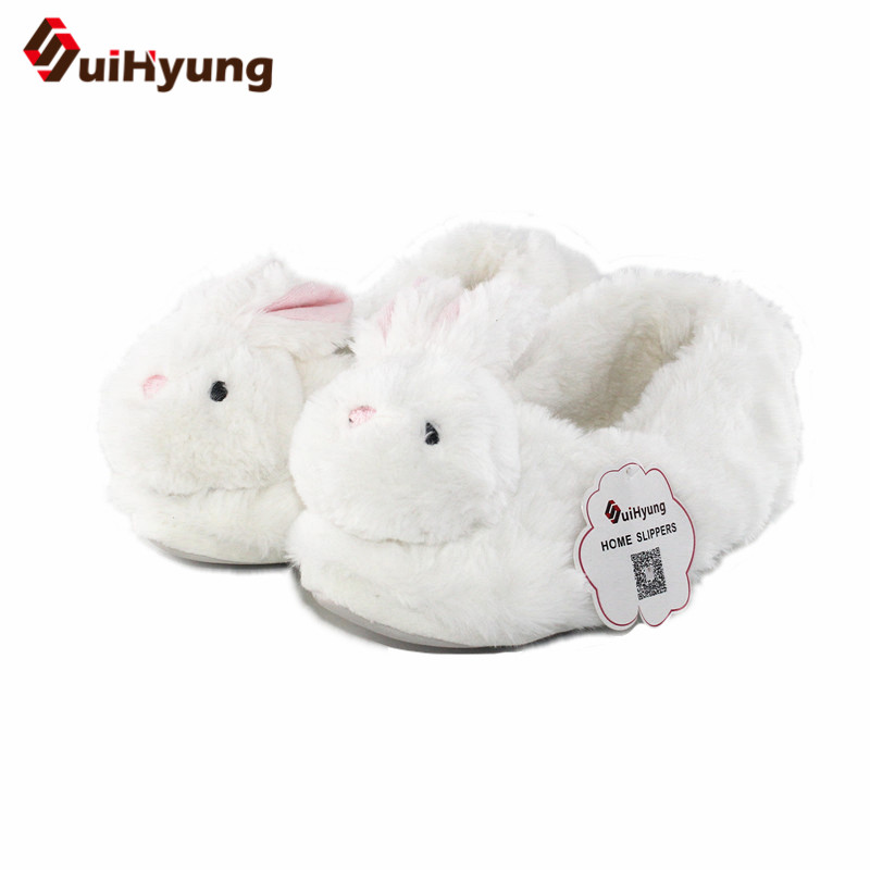 Suihyung 2018 New Women Winter Flock Shoes Plush Fuax Fur Indoor Slip On Home Slippers Female Bedroom Floor Rabbit Cotton Shoes suihyung new funny animal prints flock home slippers women winter warm indoor floor shoes flat cotton shoes short plush slip on