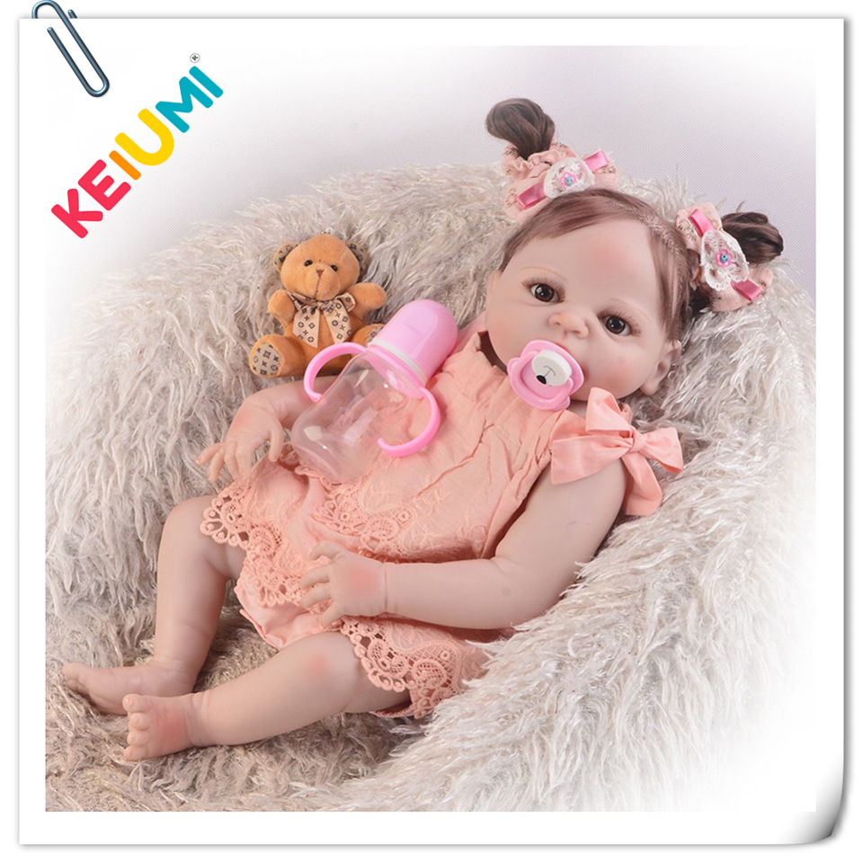 KEIUMI Design 23'' Full Body Silicone Reborn Babies Girl Doll Fiber Hair Realistic Princess Baby Reborn For Kids Birthday Gifts keiumi realistic silicone reborn babies doll lifelike 22 princess baby girl doll gold hair bebe reborn toys for kids gifts