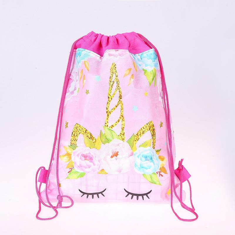 1pcs/lot Unicorn Theme Children Portable Drawstring Bag School Bag Travel Cotton Pouch Unicorn Handbag Storage Clothes Shoes Bag(China)